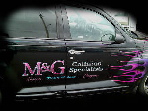 M and G airbrushed PT Cruiser Harlequin Flames